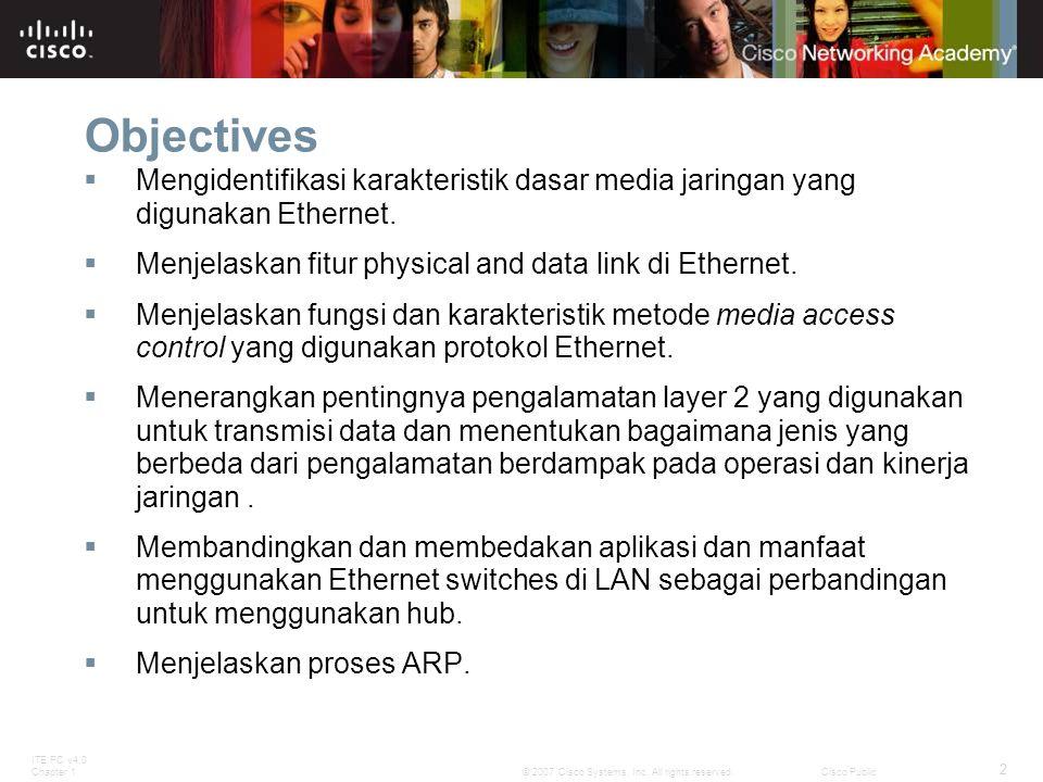 ITE PC v4.0 Chapter 1 2 © 2007 Cisco Systems, Inc. All rights reserved.Cisco Public Objectives  Mengidentifikasi karakteristik dasar media jaringan y
