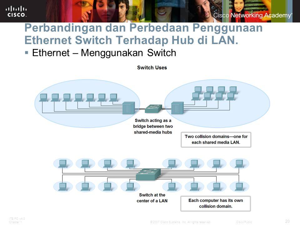 ITE PC v4.0 Chapter 1 20 © 2007 Cisco Systems, Inc. All rights reserved.Cisco Public Perbandingan dan Perbedaan Penggunaan Ethernet Switch Terhadap Hu