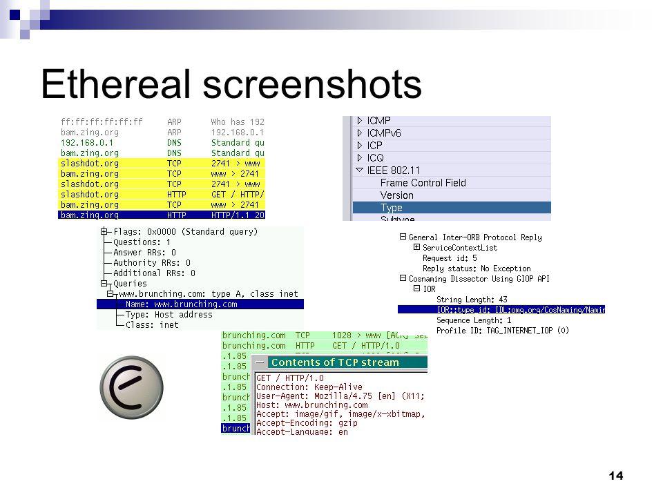 14 Ethereal screenshots