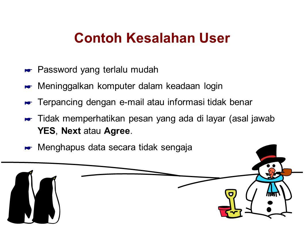 Contoh Kesalahan User ☛ Password yang terlalu mudah ☛ Meninggalkan komputer dalam keadaan login ☛ Terpancing dengan e-mail atau informasi tidak benar
