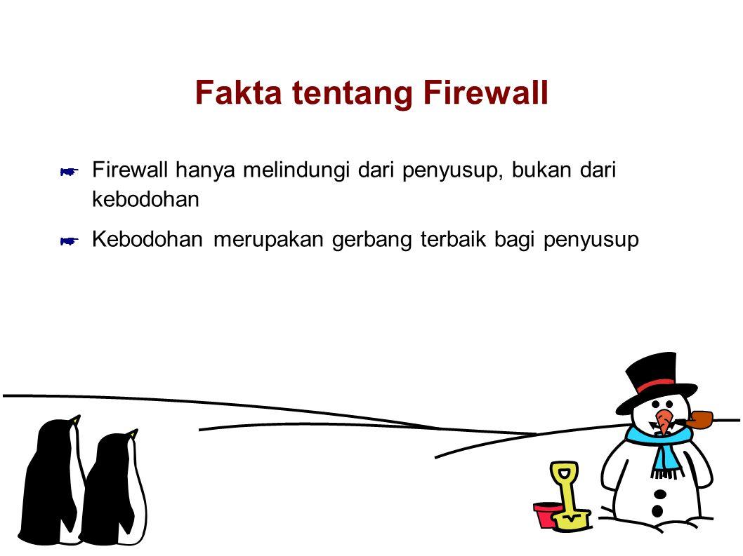 Fakta tentang Firewall ☛ Firewall hanya melindungi dari penyusup, bukan dari kebodohan ☛ Kebodohan merupakan gerbang terbaik bagi penyusup