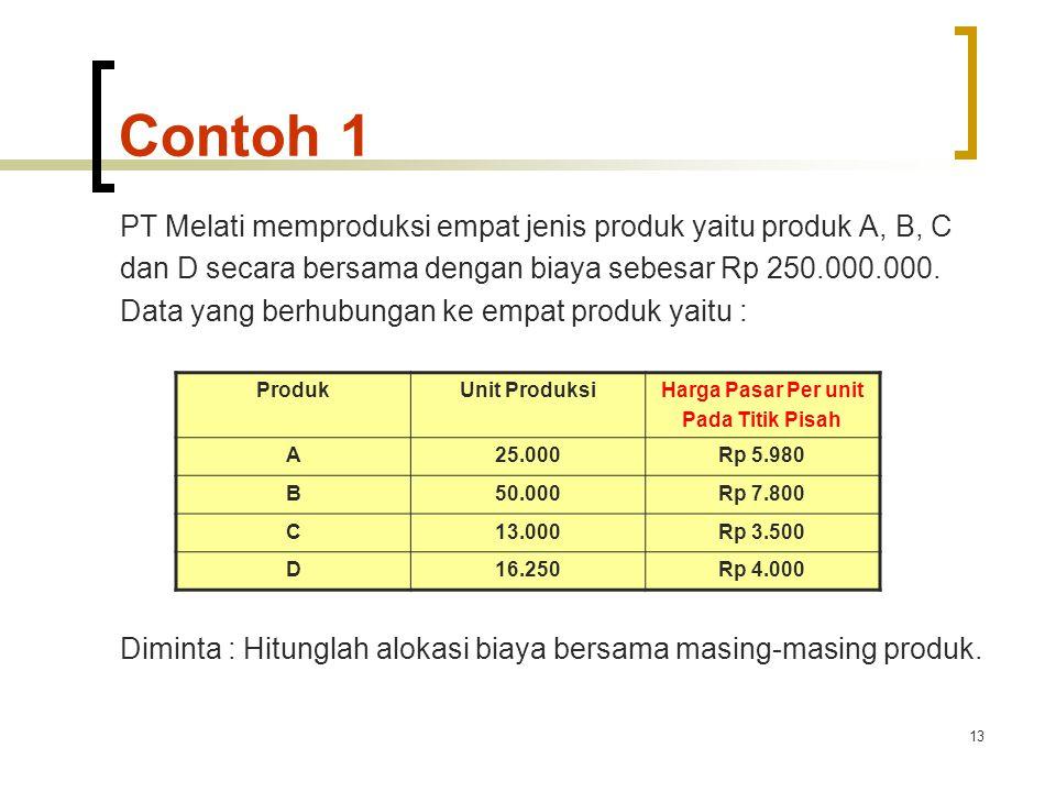 13 Contoh 1 PT Melati memproduksi empat jenis produk yaitu produk A, B, C dan D secara bersama dengan biaya sebesar Rp 250.000.000.