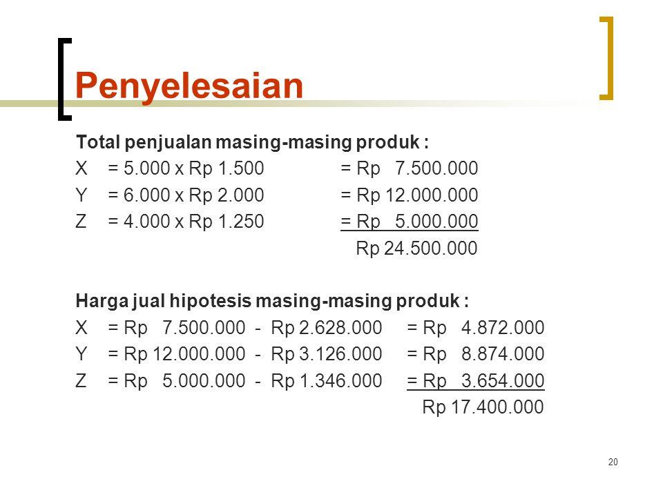 20 Penyelesaian Total penjualan masing-masing produk : X= 5.000 x Rp 1.500= Rp 7.500.000 Y= 6.000 x Rp 2.000= Rp 12.000.000 Z= 4.000 x Rp 1.250= Rp 5.000.000 Rp 24.500.000 Harga jual hipotesis masing-masing produk : X= Rp 7.500.000 - Rp 2.628.000= Rp 4.872.000 Y= Rp 12.000.000 - Rp 3.126.000= Rp 8.874.000 Z= Rp 5.000.000 - Rp 1.346.000= Rp 3.654.000 Rp 17.400.000