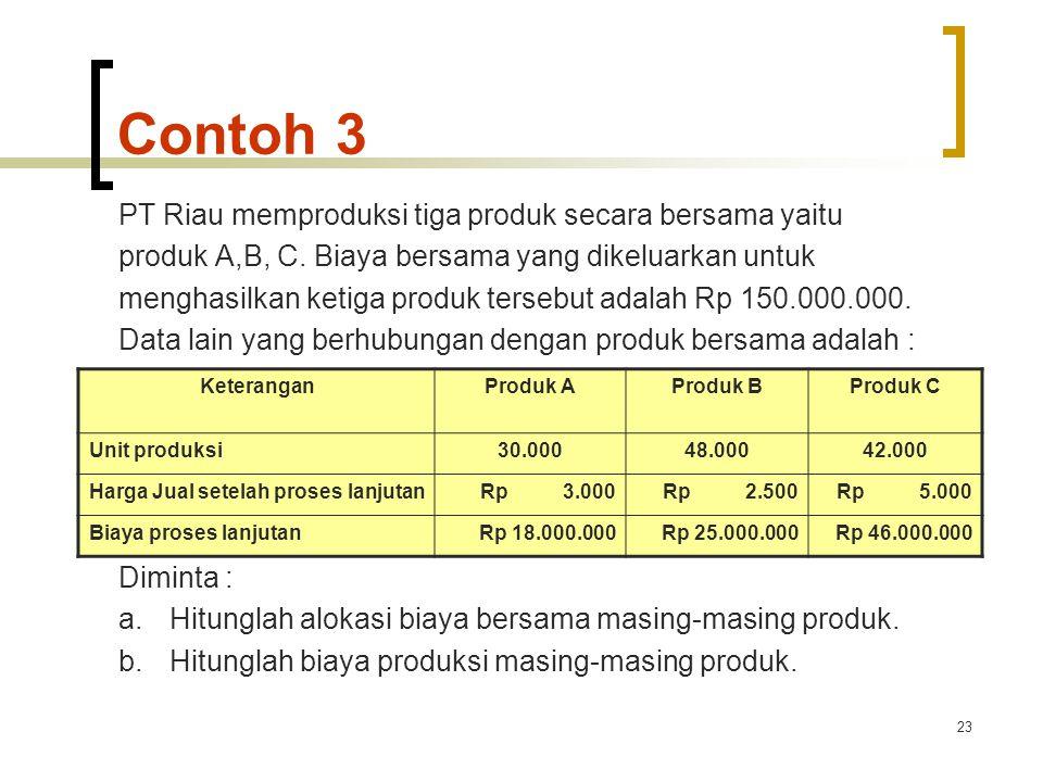 23 Contoh 3 PT Riau memproduksi tiga produk secara bersama yaitu produk A,B, C.