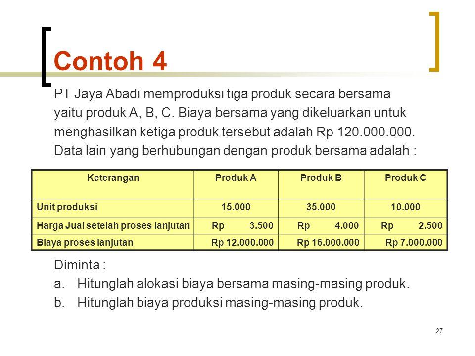 27 Contoh 4 PT Jaya Abadi memproduksi tiga produk secara bersama yaitu produk A, B, C.