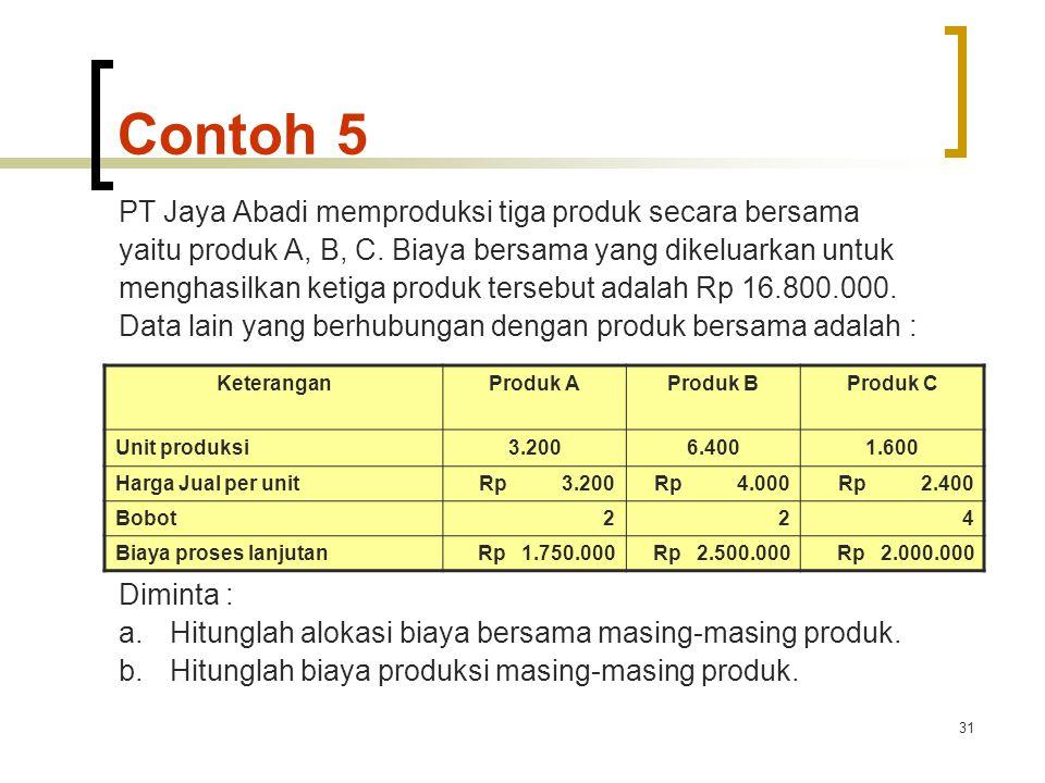 31 Contoh 5 PT Jaya Abadi memproduksi tiga produk secara bersama yaitu produk A, B, C.