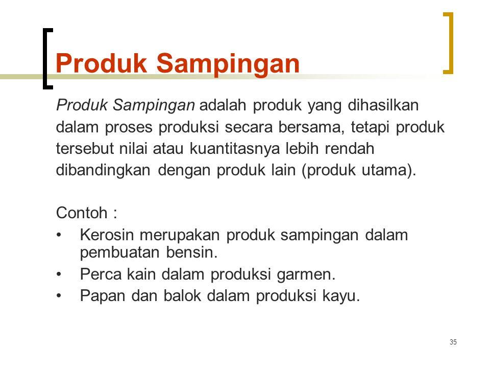 35 Produk Sampingan Produk Sampingan adalah produk yang dihasilkan dalam proses produksi secara bersama, tetapi produk tersebut nilai atau kuantitasnya lebih rendah dibandingkan dengan produk lain (produk utama).