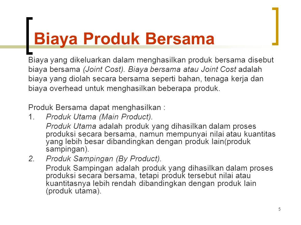 5 Biaya Produk Bersama Biaya yang dikeluarkan dalam menghasilkan produk bersama disebut biaya bersama (Joint Cost).