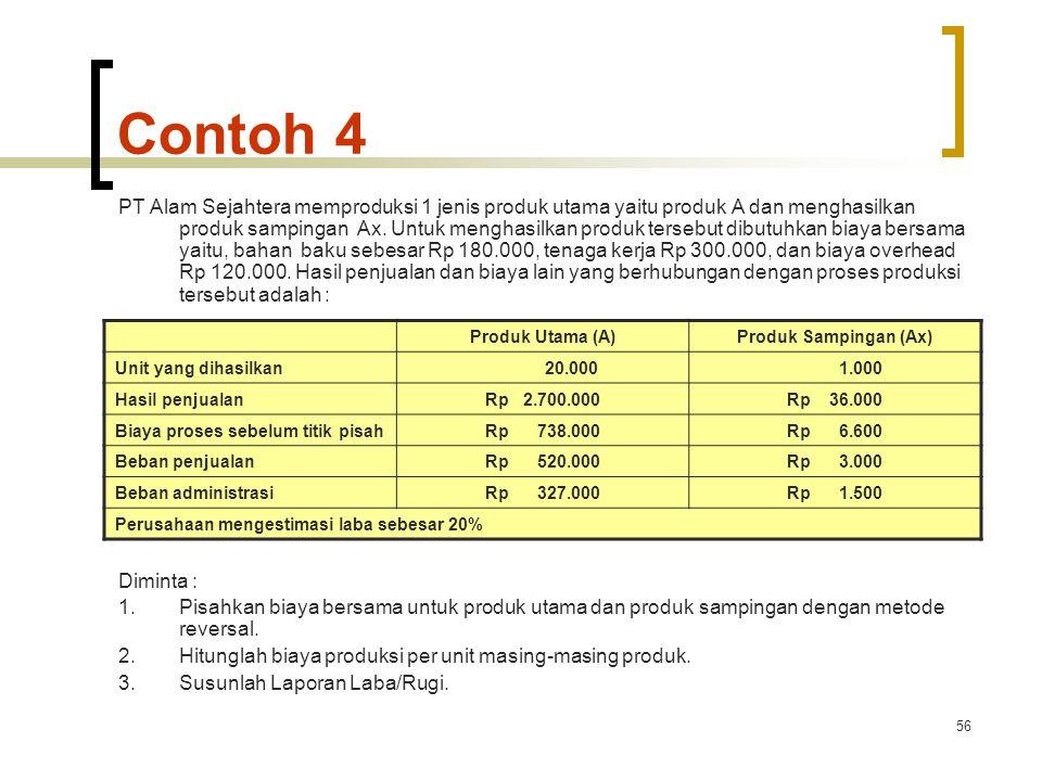 56 Contoh 4 PT Alam Sejahtera memproduksi 1 jenis produk utama yaitu produk A dan menghasilkan produk sampingan Ax.