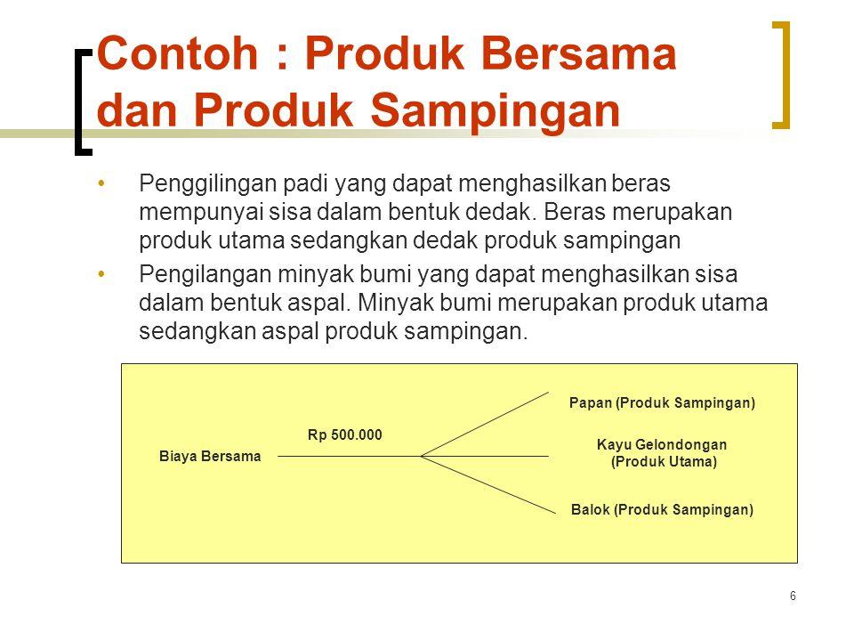6 Contoh : Produk Bersama dan Produk Sampingan Penggilingan padi yang dapat menghasilkan beras mempunyai sisa dalam bentuk dedak.