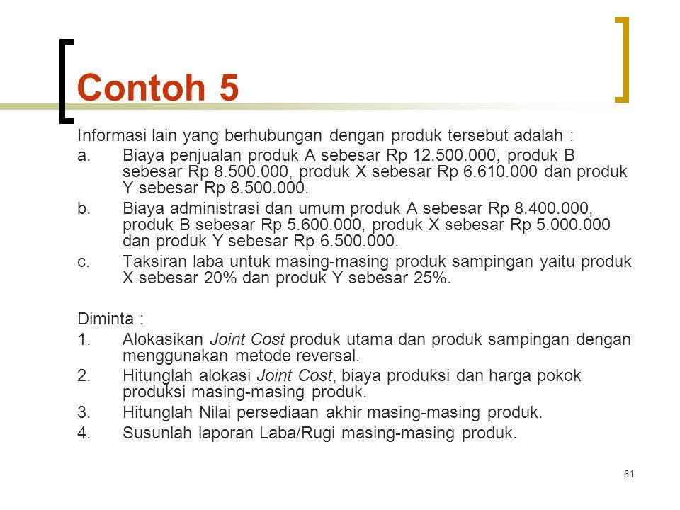 61 Contoh 5 Informasi lain yang berhubungan dengan produk tersebut adalah : a.Biaya penjualan produk A sebesar Rp 12.500.000, produk B sebesar Rp 8.500.000, produk X sebesar Rp 6.610.000 dan produk Y sebesar Rp 8.500.000.