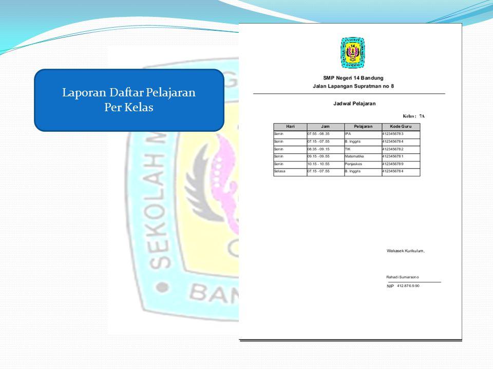 Laporan Daftar Pelajaran Per Kelas