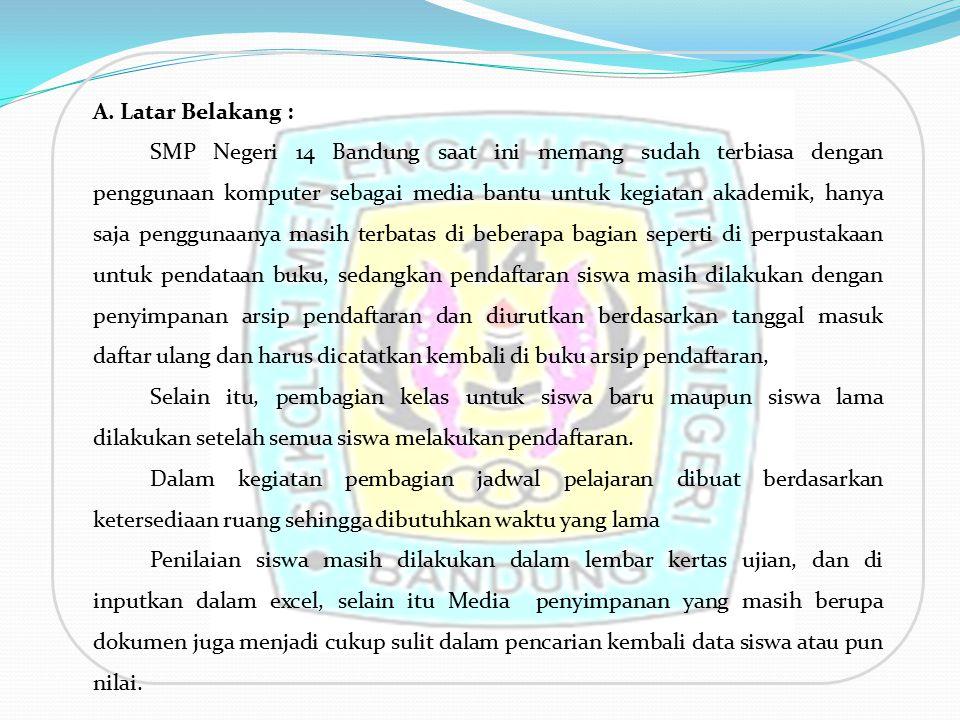 A. Latar Belakang : SMP Negeri 14 Bandung saat ini memang sudah terbiasa dengan penggunaan komputer sebagai media bantu untuk kegiatan akademik, hanya