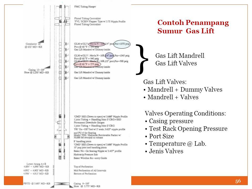 56 Contoh Penampang Sumur Gas Lift } Gas Lift Mandrell Gas Lift Valves Gas Lift Valves: Mandrell + Dummy Valves Mandrell + Valves Valves Operating Con
