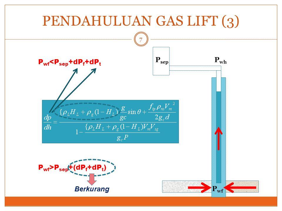 78 Gas Lift - Design Penentuan Ukuran Port Valve Q= laju alir gas, MCF/d C d = discharge coefficient A p = luas penampang port P u = tekanan injeksi gas dalam annulus, psia k= c p /c v R= perbandingan antara tekanan upstream dengan downstream T= temperatur aliran  g = specific gravity gas Atau dengan menggunakan Grafik, yang dibuat pada kondisi Laju Alir pada kondisi kritik : Specific Gravity gas= 0.65 Temperatur alir= 60 o F Tekanan dasar= 14.65 psia k = c p /c v = 1.27 Discharge coeficient= 0.865