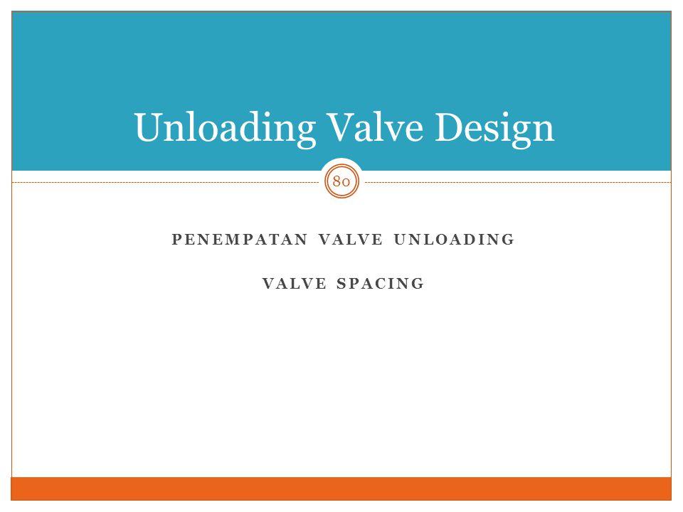 PENEMPATAN VALVE UNLOADING VALVE SPACING 80 Unloading Valve Design