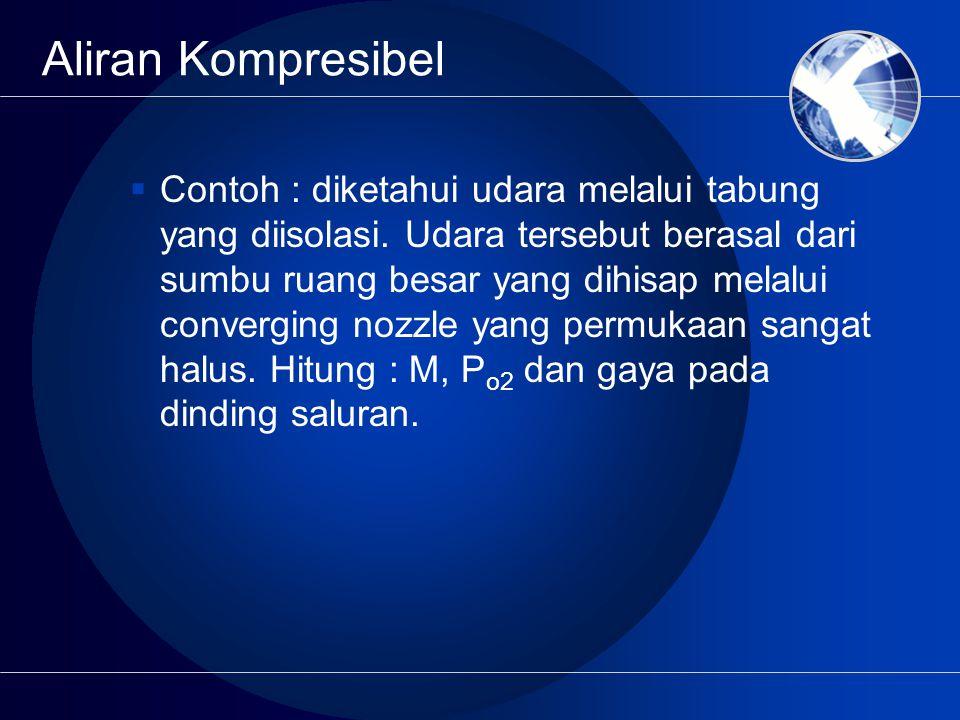Aliran Kompresibel  Contoh : diketahui udara melalui tabung yang diisolasi. Udara tersebut berasal dari sumbu ruang besar yang dihisap melalui conver
