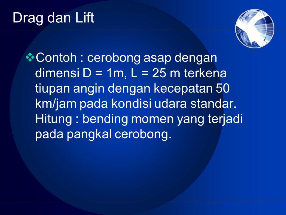 Drag dan Lift  Contoh : cerobong asap dengan dimensi D = 1m, L = 25 m terkena tiupan angin dengan kecepatan 50 km/jam pada kondisi udara standar. Hit