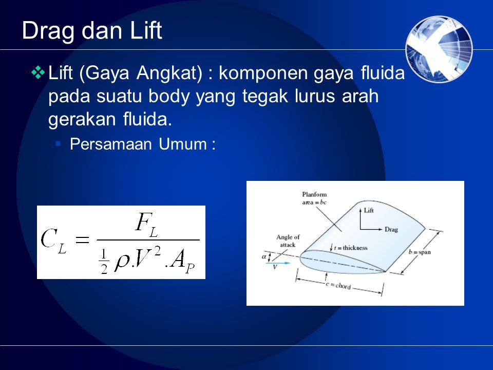  Lift (Gaya Angkat) : komponen gaya fluida pada suatu body yang tegak lurus arah gerakan fluida.  Persamaan Umum :