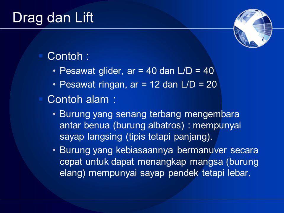 Drag dan Lift  Contoh : Pesawat glider, ar = 40 dan L/D = 40 Pesawat ringan, ar = 12 dan L/D = 20  Contoh alam : Burung yang senang terbang mengemba