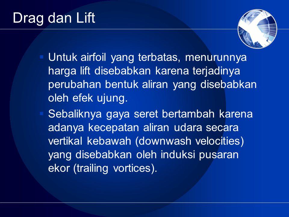 Drag dan Lift  Untuk airfoil yang terbatas, menurunnya harga lift disebabkan karena terjadinya perubahan bentuk aliran yang disebabkan oleh efek ujun