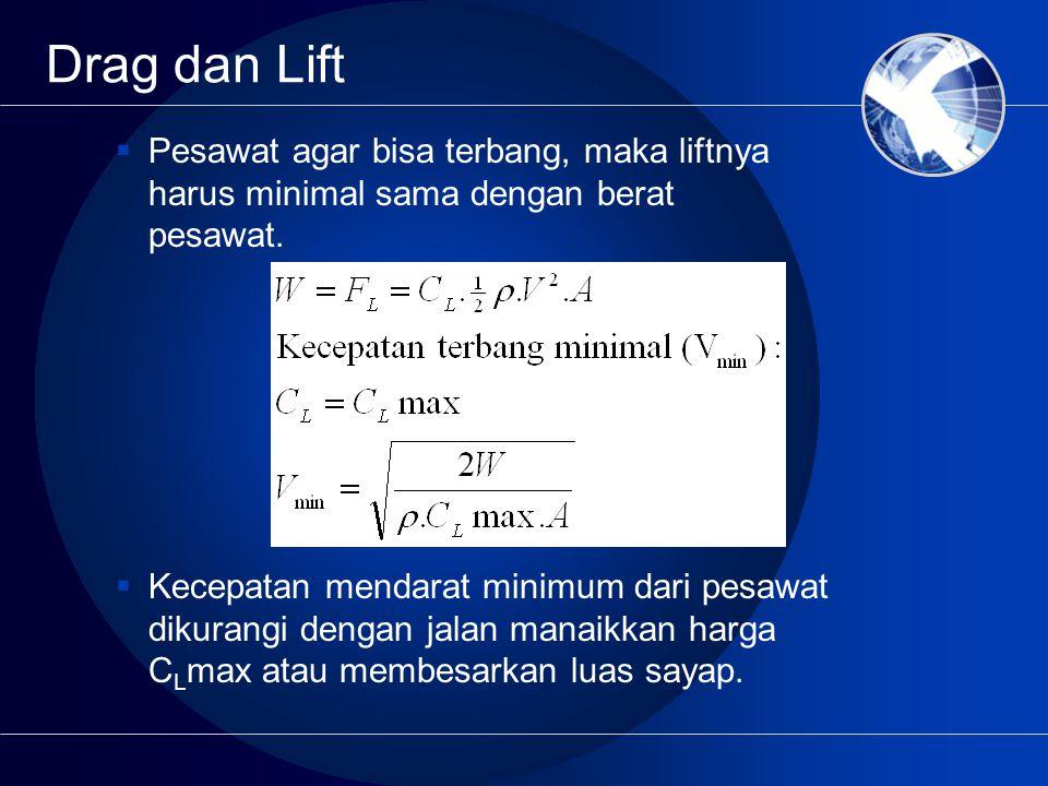 Drag dan Lift  Pesawat agar bisa terbang, maka liftnya harus minimal sama dengan berat pesawat.  Kecepatan mendarat minimum dari pesawat dikurangi d