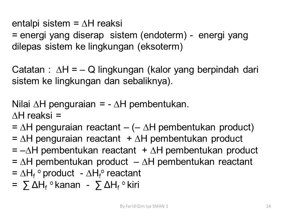 entalpi sistem = ∆H reaksi = energi yang diserap sistem (endoterm) - energi yang dilepas sistem ke lingkungan (eksoterm) Catatan : ∆H = – Q lingkungan