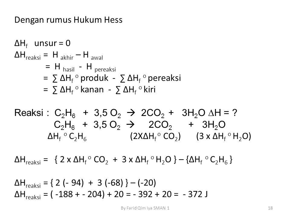 Dengan rumus Hukum Hess ΔH f unsur = 0 ΔH reaksi = H akhir – H awal = H hasil - H pereaksi = ∑ ΔH f o produk - ∑ ΔH f o pereaksi = ∑ ΔH f o kanan - ∑