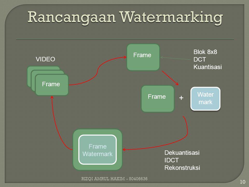 Frame Blok 8x8 DCT Kuantisasi Frame + Water mark Frame Watermark Dekuantisasi IDCT Rekonstruksi Frame VIDEO 10 RIZQI AMRUL HAKIM - 50406636