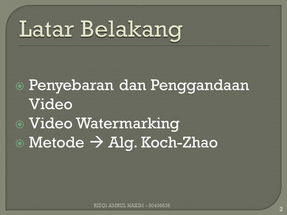  Penyebaran dan Penggandaan Video  Video Watermarking  Metode  Alg.