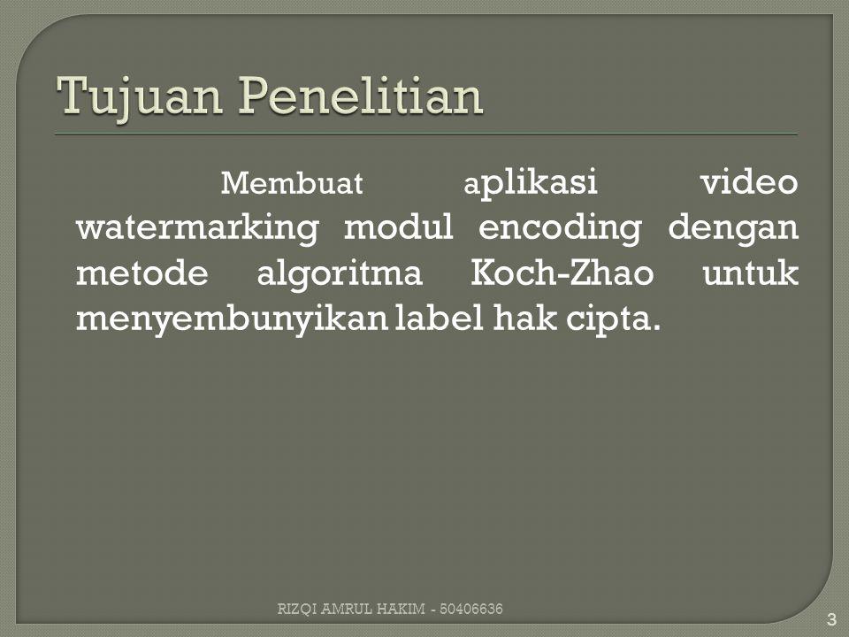 Membuat a plikasi video watermarking modul encoding dengan metode algoritma Koch-Zhao untuk menyembunyikan label hak cipta.