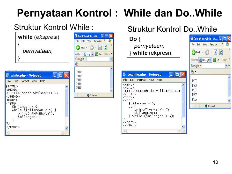 10 Pernyataan Kontrol : While dan Do..While Struktur Kontrol While : while (ekspresi) { pernyataan; } Struktur Kontrol Do..While Do { pernyataan; } while (ekpresi);