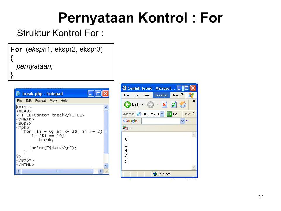 11 Pernyataan Kontrol : For For (ekspri1; ekspr2; ekspr3) { pernyataan; } Struktur Kontrol For :