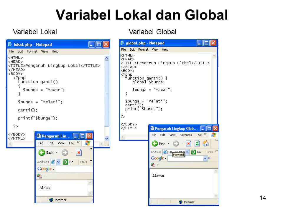 14 Variabel Lokal dan Global Variabel LokalVariabel Global