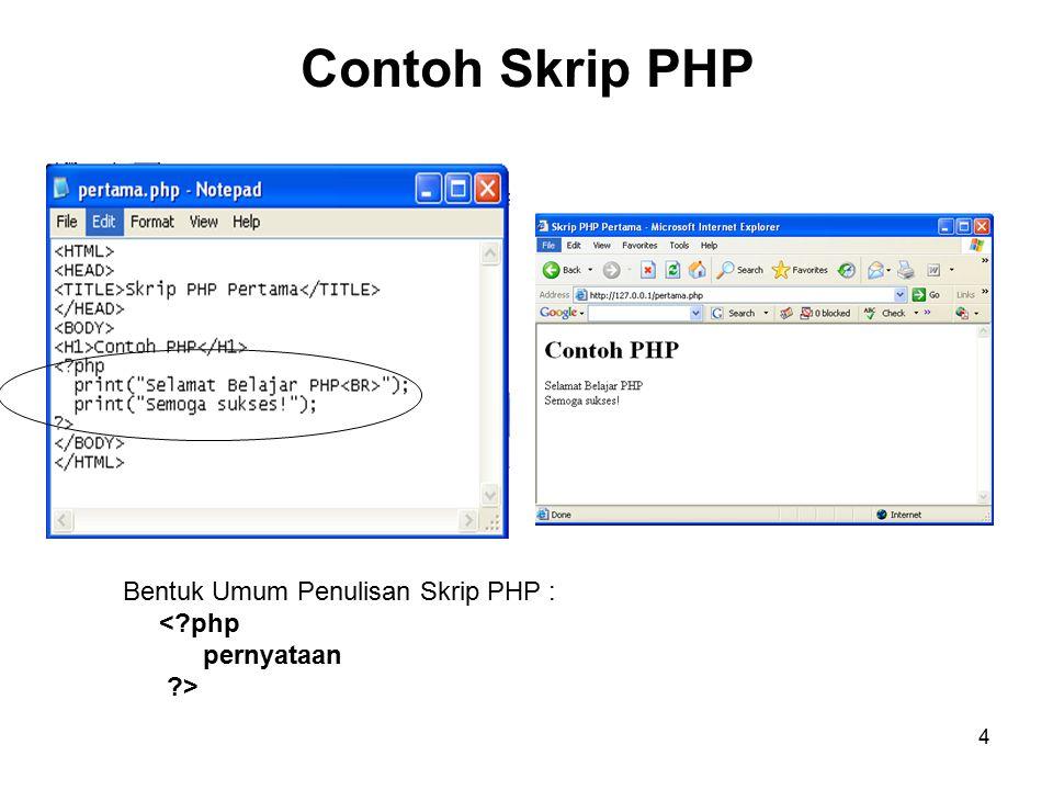 4 Contoh Skrip PHP Bentuk Umum Penulisan Skrip PHP : <?php pernyataan ?>