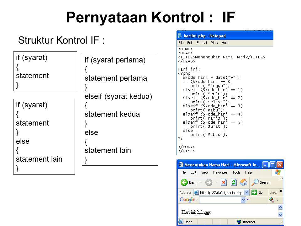 9 Pernyataan Kontrol : Switch Struktur Kontrol Switch : switch (ekspresi) { case ekspresi_case_1 : pernyataan_1; break; case ekspresi_case_2 : pernyataan_2; break; …….