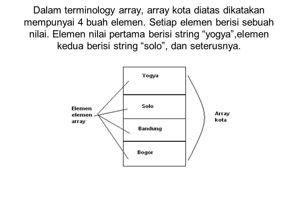Dalam terminology array, array kota diatas dikatakan mempunyai 4 buah elemen.