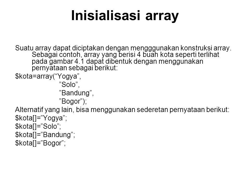 Inisialisasi array Suatu array dapat diciptakan dengan mengggunakan konstruksi array.