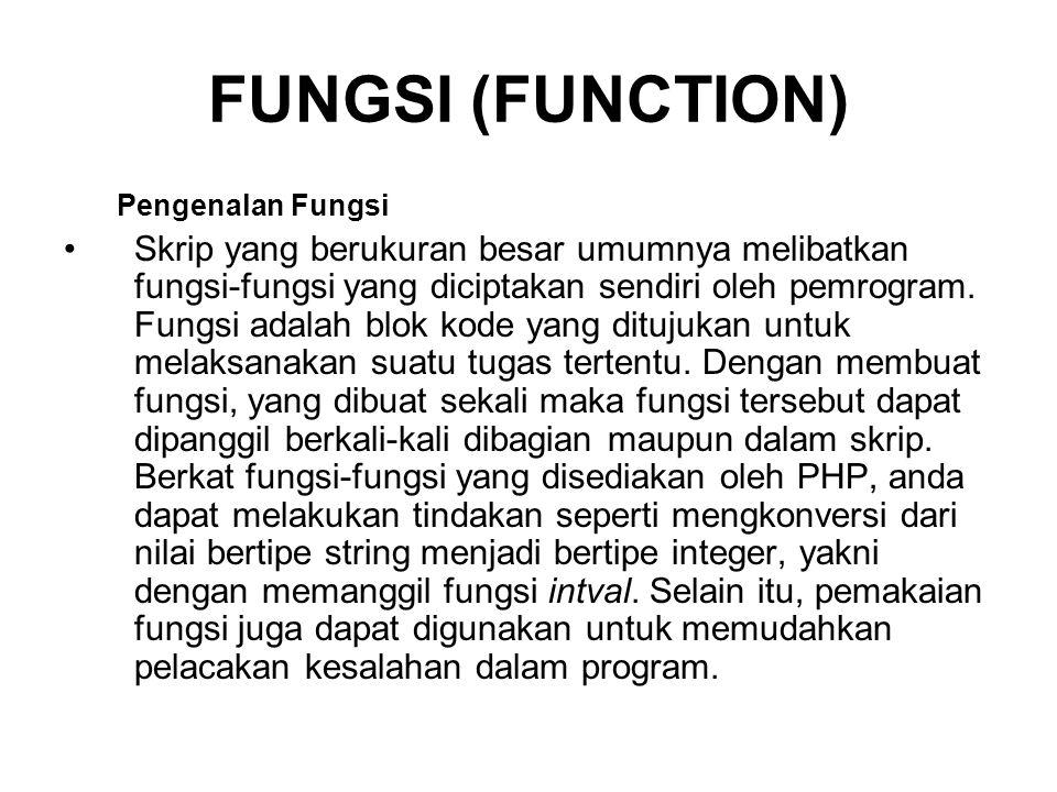 FUNGSI (FUNCTION) Pengenalan Fungsi Skrip yang berukuran besar umumnya melibatkan fungsi-fungsi yang diciptakan sendiri oleh pemrogram.