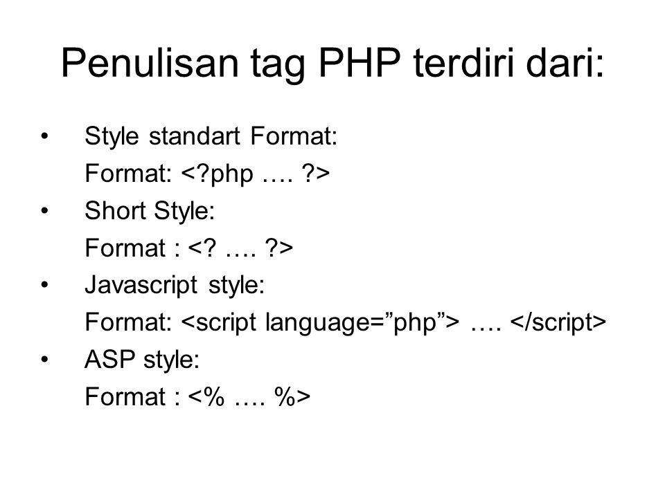 Komentar pada PHP Ada 3 macam komentar dalam PHP yaitu: //komentar Semua perintah yang ada disebelah kanan tanda // tidak akan dieksekusi.