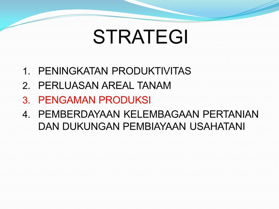 STRATEGI 1. PENINGKATAN PRODUKTIVITAS 2. PERLUASAN AREAL TANAM 3. PENGAMAN PRODUKSI 4. PEMBERDAYAAN KELEMBAGAAN PERTANIAN DAN DUKUNGAN PEMBIAYAAN USAH