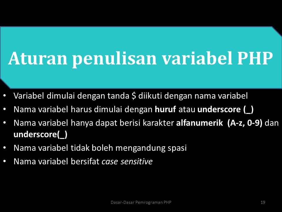 Aturan penulisan variabel PHP Variabel dimulai dengan tanda $ diikuti dengan nama variabel Nama variabel harus dimulai dengan huruf atau underscore (_
