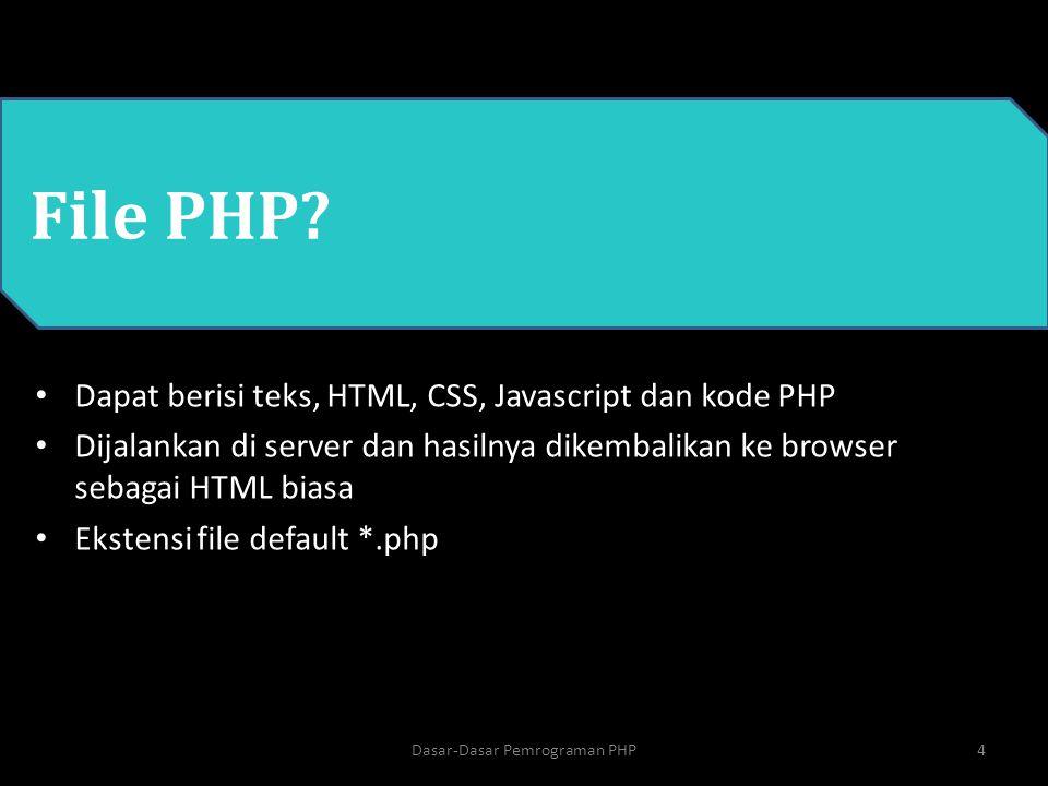 PHP Dasar-Dasar Pemrograman PHP4 File PHP? Dapat berisi teks, HTML, CSS, Javascript dan kode PHP Dijalankan di server dan hasilnya dikembalikan ke bro