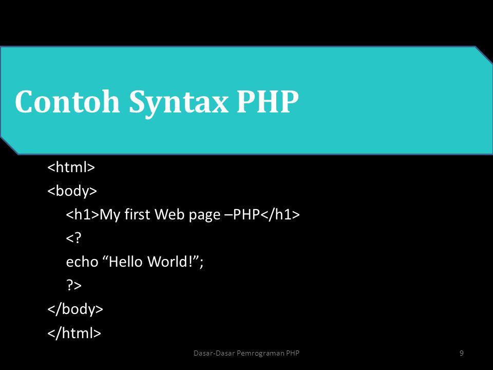 Contoh variabel di PHP <.