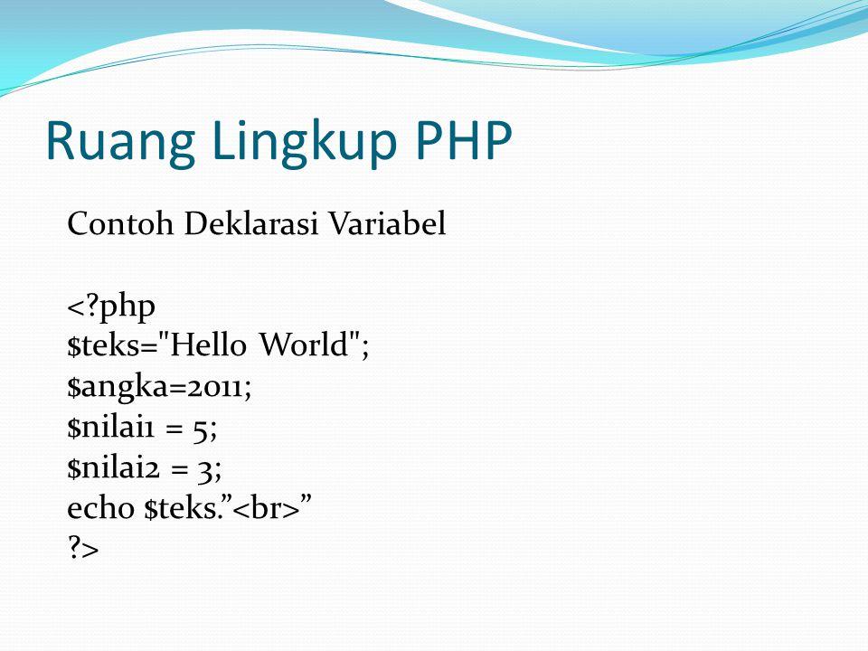 Ruang Lingkup PHP Contoh Deklarasi Variabel <?php $teks= Hello World ; $angka=2011; $nilai1 = 5; $nilai2 = 3; echo $teks. ?>