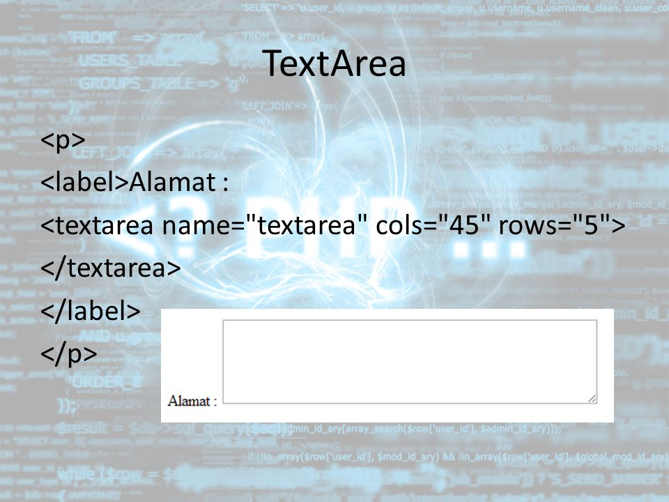 TextArea Alamat :