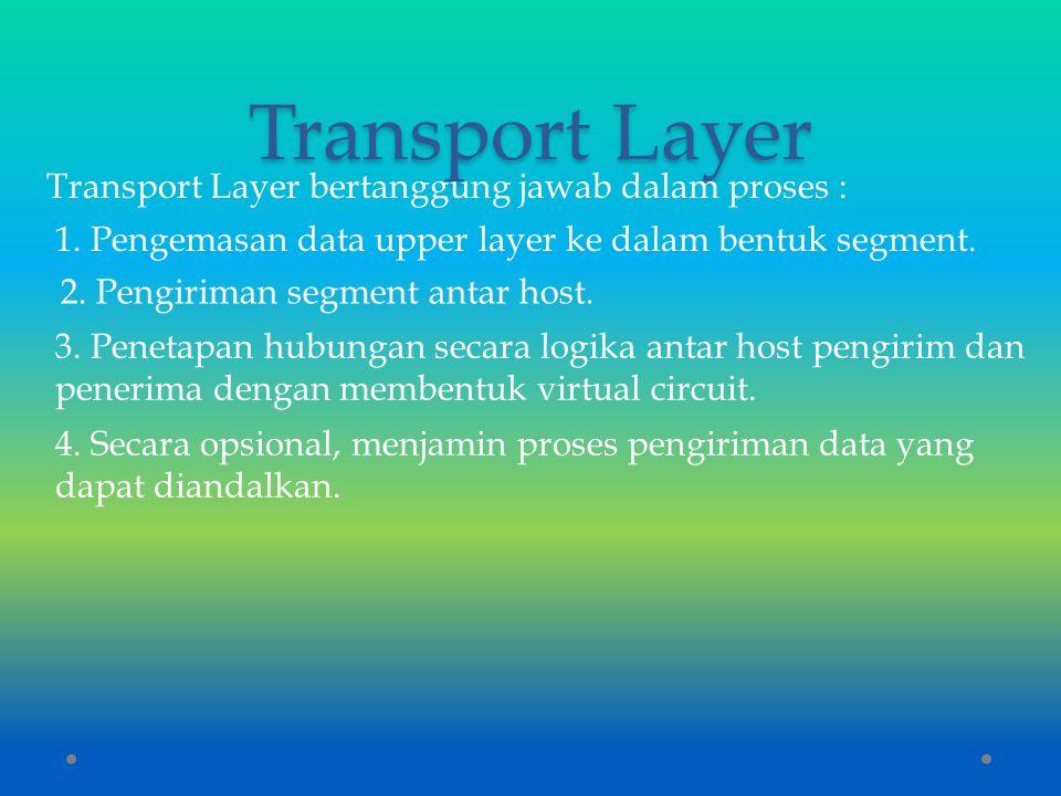 Transport Layer Transport Layer bertanggung jawab dalam proses : 1. Pengemasan data upper layer ke dalam bentuk segment. 2. Pengiriman segment antar h
