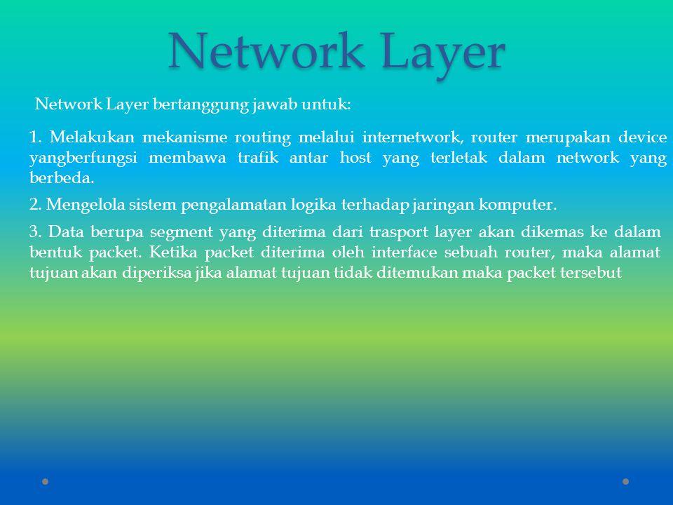 Network Layer Network Layer bertanggung jawab untuk: 1. Melakukan mekanisme routing melalui internetwork, router merupakan device yangberfungsi membaw