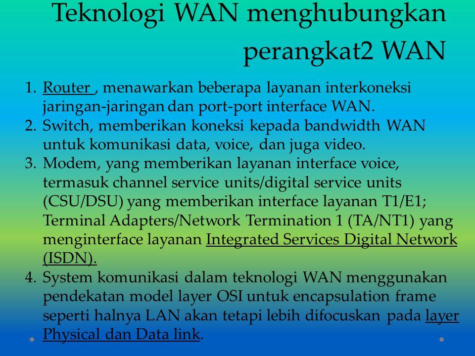 Teknologi WAN menghubungkan perangkat2 WAN 1.Router, menawarkan beberapa layanan interkoneksi jaringan-jaringan dan port-port interface WAN. 2.Switch,