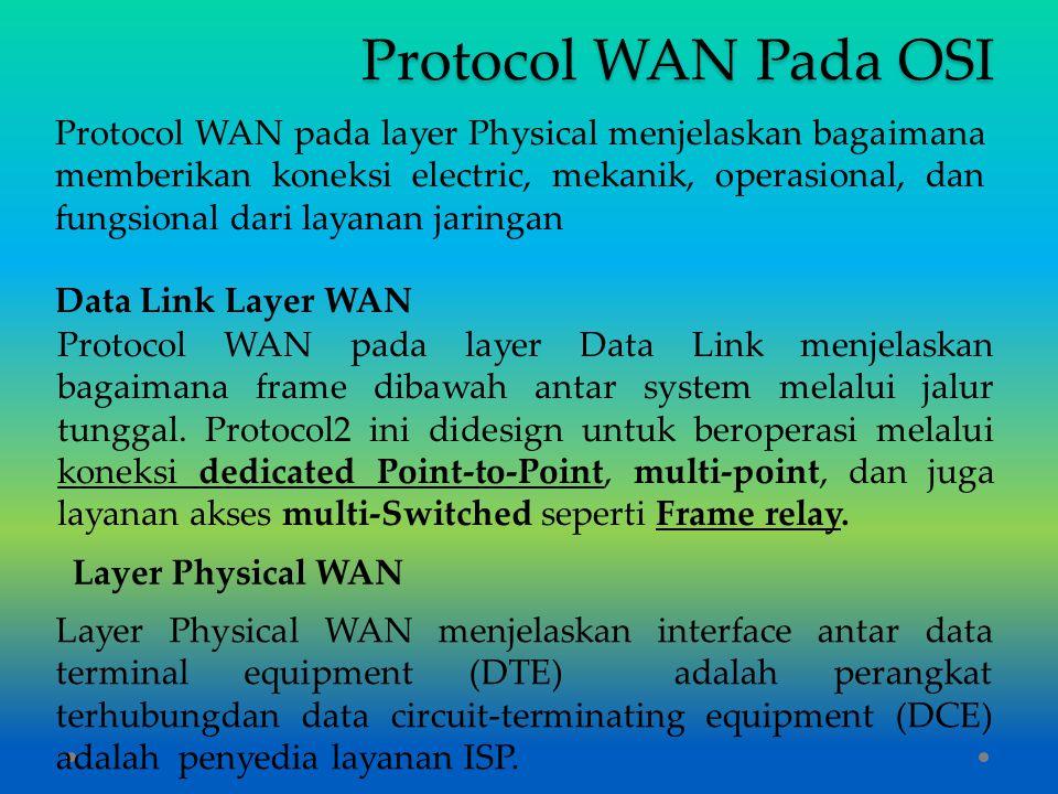 Protocol WAN Pada OSI Protocol WAN pada layer Physical menjelaskan bagaimana memberikan koneksi electric, mekanik, operasional, dan fungsional dari la